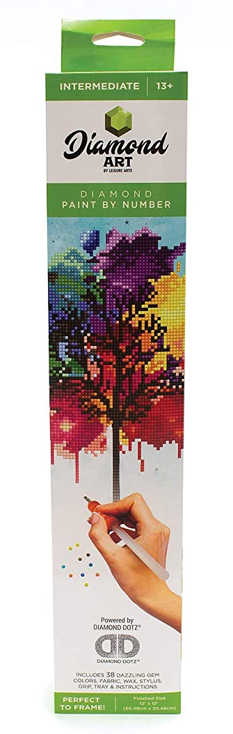 Leisure Arts - Diamond Art Sparkle Art Diamond Paint by Number Rainbow Tree Kit – 5D Pixel Painting DIY Arts and Crafts for Kids Canvas Wall Decor