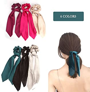 CIEHER 6 Pcs Silk Satin Hair Scrunchies, Hair Scarf with Bow Silk Elastic Hair Bands, Stripe Printed Hair Bobbles for Ponytail Holder (6 Pcs Solid Colors)