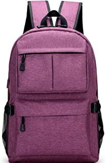 Fashion Anti Theft Zipper Men Women School Laptop Backpacks Water Repellent Travel Multi USB Charger Mochila (Color : Purple, Size : 46 * 32 * 12cm)