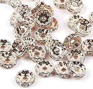 50 cuentas espaciadoras de cristal Rondelles de 4/6/8/10 mm, oro rosa, oro rosa, agujero de 6 mm, 2 mm, 50 unidades