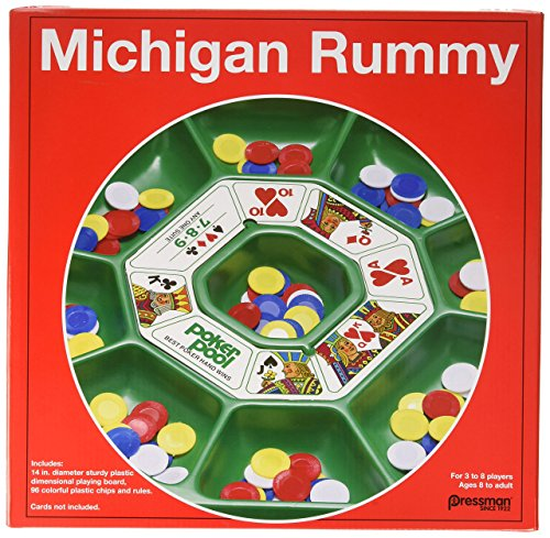 Pressman Michigan Rummy The Perfect Blend of Rummy and Poker for an Entirely New Game Experience, 5'