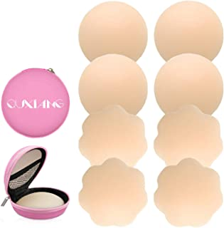 QUXIANG 4 Pairs Pasties Women Nipple Covers Reusable Adhesive Silicone Nippleless Covers (2 Round+2 Flower)