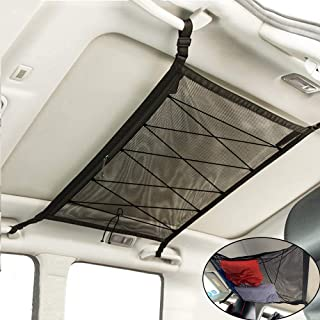 WANLIAN Car Ceiling Storage Net SUV Ceiling Net Pocket with Upgrad Double Head Zipper-Prevent Falling Design for Put Quilt...