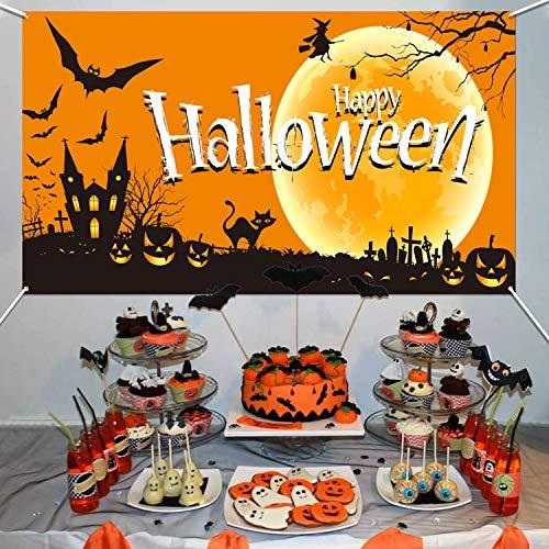 HOWAF Extra Grande Halloween Bandierine per Halloween Decorazione, Halloween Striscione in Tessuto per Halloween Photo Booth Fondale Sfondo Interno Esterno Decorazione Forniture, 5,9 * 3,28 Piedi