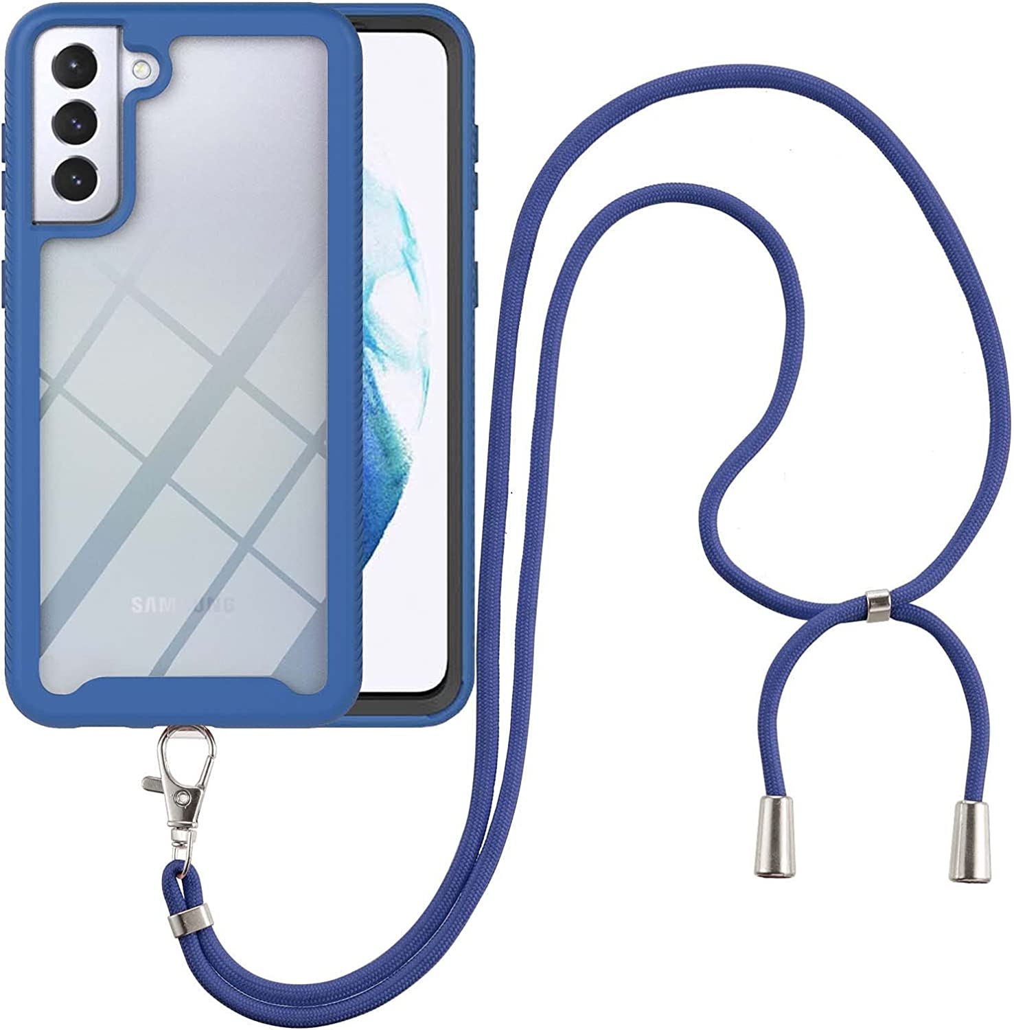 Samsung S21 Case, EabHulie Transparent Back No-Slip Bumper with Adjustable Crossbody Lanyard Strap Case, Shockproof Full Body Protection Cover for Samsung Galaxy S21 Blue