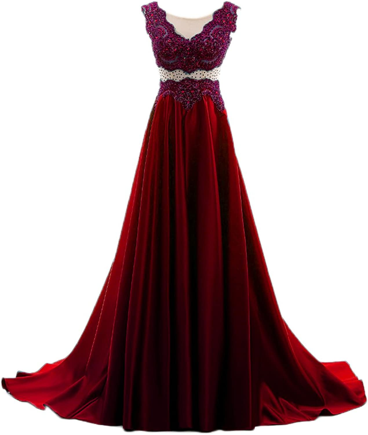 Liaoye Women's Lace Beaded Evening Gowns A Line Illusion Waist Long Party Dress
