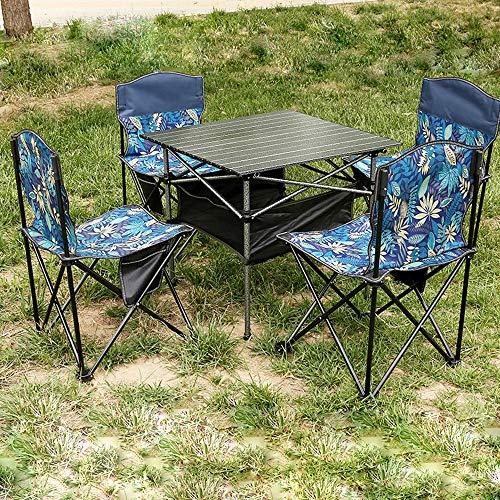 Mesa Y Silla Plegables Mesa De Camping Muebles De Camping Conjunto De Cinco Piezas 1 Mesa 4 Sillas Taburete Plegable De Aluminio Mesa Plegable Mesa De Picnic De Aluminio Camping 68X68x65 Cm