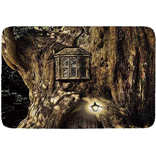 YAGEAD Fantasy Einfaches Haustierbett, Märchenhaus im Baumstamm im Wald mit Laternen Volksgeschichten Themen Design