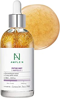 [AMPLE:N] Peptide Shot Ampoule 3.38 fl. oz. (100ml) - Ultimate Anti Aging & Anti Wrinkle Facial Firming Serum, Tri-Peptides Booster, Visiby Plump, Rejuvenating Skin Care, Lifts Sagging Skin