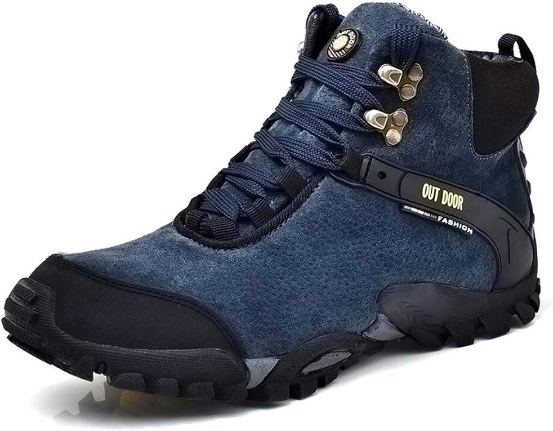 Men's Hiking shoes Winter Plus Warm High Men's shoes Large Size Trend Knight Men's Leather Boots Wild Tie Outdoor Climbing Men's shoes