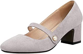 [Gracemee] レディーズ 可愛い パール パンプス メアリージェーン シューズ ミッドヒール 太ヒール 通勤靴 Yanhui Size 34