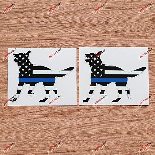 2X Glossy 4'' German Shepherd Thin Blue Line American Flag K9 Dog Decal Sticker Vinyl