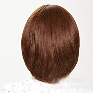 Flat Bangs Bob Style Wig Natural Looking Ladies Brown Short Straight Wigs,Hairpieces (Color : Light Brown)