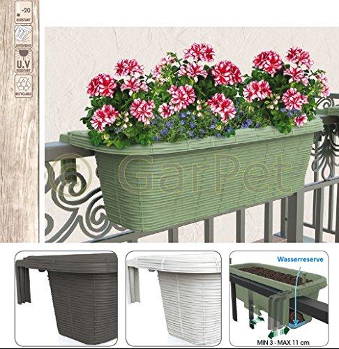 Bama Spa Geländerkasten 60 Rattan Geflecht Optik Balkon Geländer Blumen Kasten Halterung Weiß