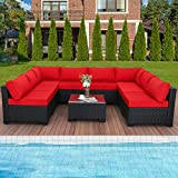 Outdoor Sectional Sofa Couch 9 Pieces Wicker Patio Furniture with Red Non-Slip Cushions Furniture Cover Black PE Rattan
