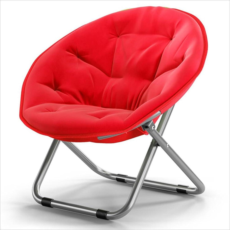 Moon Chair Folding Chair Sofa Chair Lazy Sun Chair Recliner Folding Chair Round Chair Solid color Home Folding Chair Lazy Couch (color   Red)