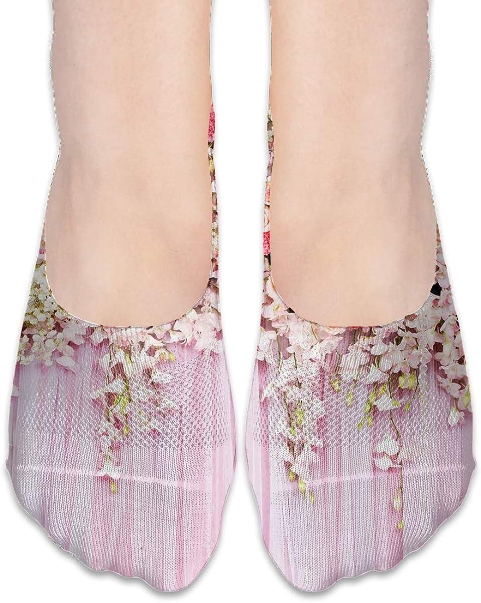No Show Socks Women Men For Beautiful Flowers Pink Wedding Flats Cotton Ultra Low Cut Liner Socks Non Slip