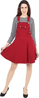 Trend For You Cotton Lycra Dungaree Dress with Top for Women