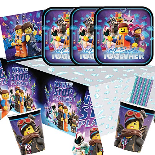 Amscan/Hobbyfun 41-teiliges Party-Set Lego Movie 2 - Teller Becher Servietten Tischdecke Trinkhalme blau/lila für 8 Kinder