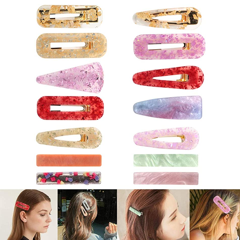 Deloky 14 Pieces Glitter Acrylic Resin Hair Barrettes -Fashion Geometric Alligator Hairpins,korean Hair Clips,Hair Accessory for Girl Women Birthday Gifts Wedding Bridal Bridesmaid Ornaments