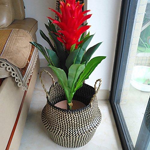 cheerfulus Nordic cestino Belly pieghevole cestino di portabiancheria a mano vaso di fiori Planter paglia naturale, Nero, medium