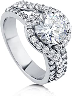 BERRICLE Rhodium Plated Sterling Silver Round Cubic Zirconia CZ Halo Engagement Ring 2.92 CTW