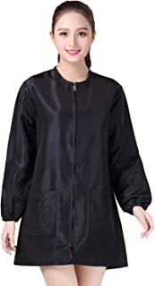 KAHOT Professional Salon Smock Stylist Jacket Cosmetology Uniform Zipper Hairdressing Cape Hairdresser Work Clothes Hair Beauty SPA Guest Client Kimono Gown (XL, Black)