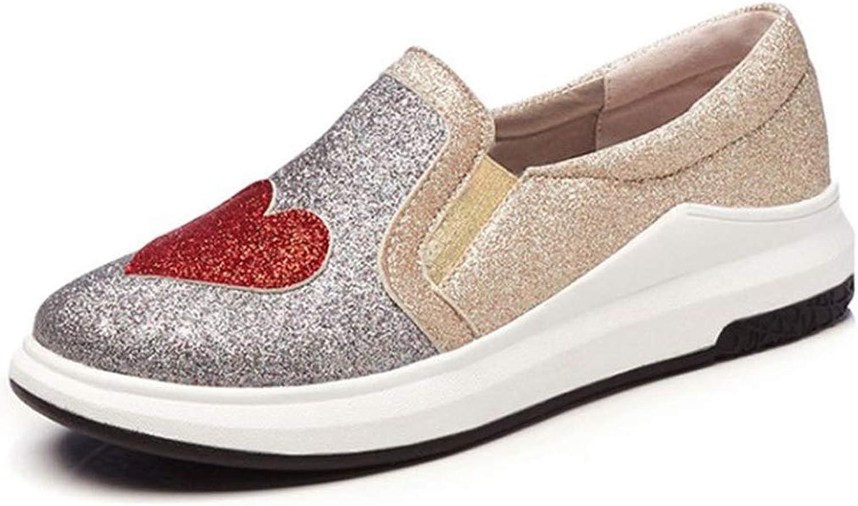 GIY Women's Slip On Platform Sneakers Glitter Casual Flats Walking shoes Low Top Slip On Penny Loafers