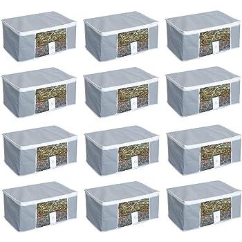 HomeStrap 12 Piece Saree Cover/Cloth Storage/Organiser with Transparent Window(Grey)