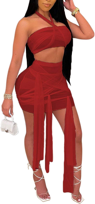 Womens Sexy Mesh 2 Piece Dress See Through Crop Top Bodycon Mini Skirts Set
