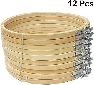 Healifty stickrahmen Set Bambus Kreis kreuzstich Ring Holz Display Rahmen für kunsthandwerk nähen 23 cm 12 stücke