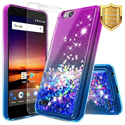 ZTE Glitter Liquid Quicksand Case Compatible ZTE Blade Vantage/Fanfare 3 /Avid 4 /Tempo X/AVID (557)/ZFive G/ZFive C LTE (Z557BL,Z558VL)/Tempo GO w/[Tempered Glass Screen Protector]-Purple/Blue