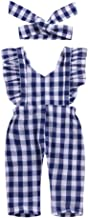 Weixinbuy Toddler Baby Girls Plaid Bowknot Summer Cotton Romper Bodysuit Overall 1-3 Years