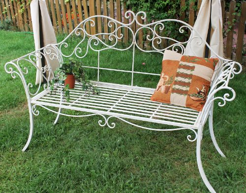 DanDiBo Gartenbank Romance Weiß 111183 Bank 146 cm aus Schmiedeeisen Metall Sitzbank - 6