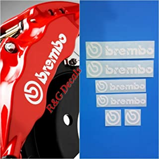 R&G Brembo Decal Combo Package for 6 Piston & 4 Piston & Brembo Logos Brake Caliper Decal Sticker High Temp Set of 6 Decals (White)