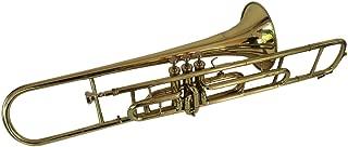 Queen Brass Trombone Bb Pitch Finish Brass Made W/Case+Mp Gold