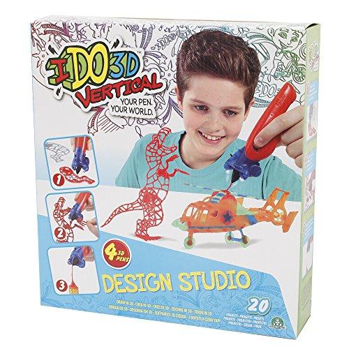 IDO3D Vertical, Design studio 4 tubes, avec Torche et Accessoires 3D, jusqu'à 20 Modèles Uniques à Réaliser, Jouet pour Enfants dès 6 Ans, DDD02