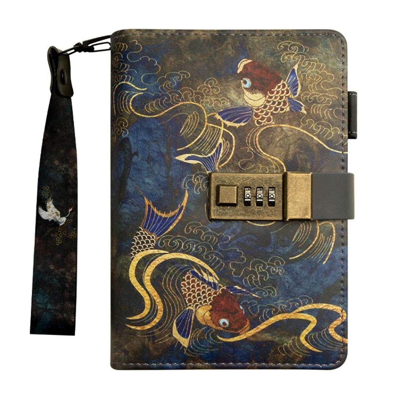 ダイヤル日常的にルー革ノート、パスワード付きメモ帳、クリエイティブギフト/ルーズリーフのトラベルテキストと日記 (Color : B)