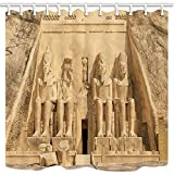 CDHBH Cortinas de ducha egipcias para baño, gran templo en Egipto, tela de poliéster, impermeables, ganchos para cortina de ducha incluidos, 180 x 180 cm
