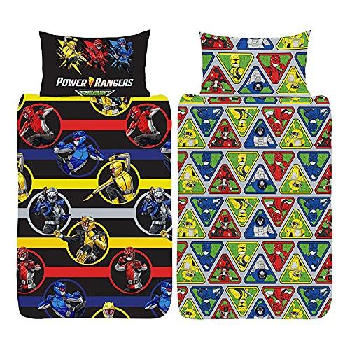 Action Figure Power Rangers Beast Morphers - Juego de funda de edredón para cama individual, color negro/rojo/azul/amarillo