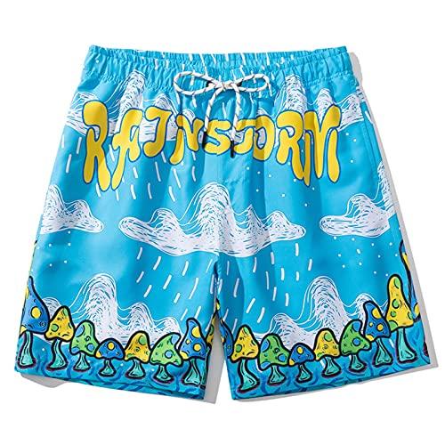 Actqor Hombre Pantalones Cortos de Pijama Algodón Salón Shorts Verano 95% Deportivos Cordón Transpirable Ligero N,L
