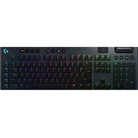 Logitech G915 LIGHTSPEED Clavier Gaming sans Fil Mécanique, Switch ultra-plat GL Tactile, RVB LIGHTSYNC, Design élégant et mince, 30+ heures de jeu, 2,4 GHz/Bluetooth, Clavier Français AZERTY - Noir
