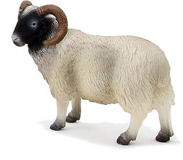 MOJO Black Faced Sheep Ram Realistic Farm Animal Hand Painted Toy Figurine