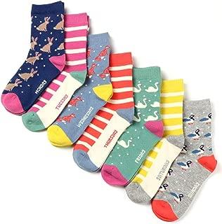 7 Days of the Week Girls Cotton Crew Socks Gift Box Set