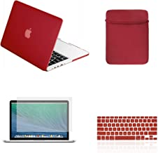 TOP CASE - 4 in 1 Essential Bundle Rubberized Hard Case, Keyboard Cover, Sleeve Bag, Screen Protector Compatible Old MacBook Pro with CD-ROM/DVD Drive A1278 (Release 2008-2011) - Wine Red