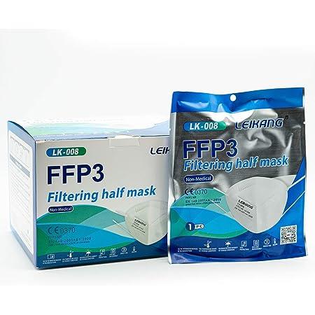 Mascherine FFP3 Certificate CE, Mascherina 5 Strati Senza Valvola, Maschera Facciale Protezione da Polvere e Antiparticolato, Face Mask Protettiva con Alta Efficienza di Filtraggio BFE≥98, 20 Pezzi