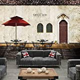 Wongxl Retro-Großen Fresko Bar Schattenboden 3D Wallpaper Cafe Sofa Geschäfte Tapeten 3D Tapete Hintergrundbild Fresko Wandmalerei Wallpaper Mural 350cmX300cm