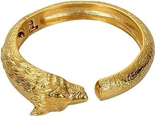Epinki Men Bracelet Bangle Stainless Steel Gold Plated Wolf Head Adjustable Design Bracelet