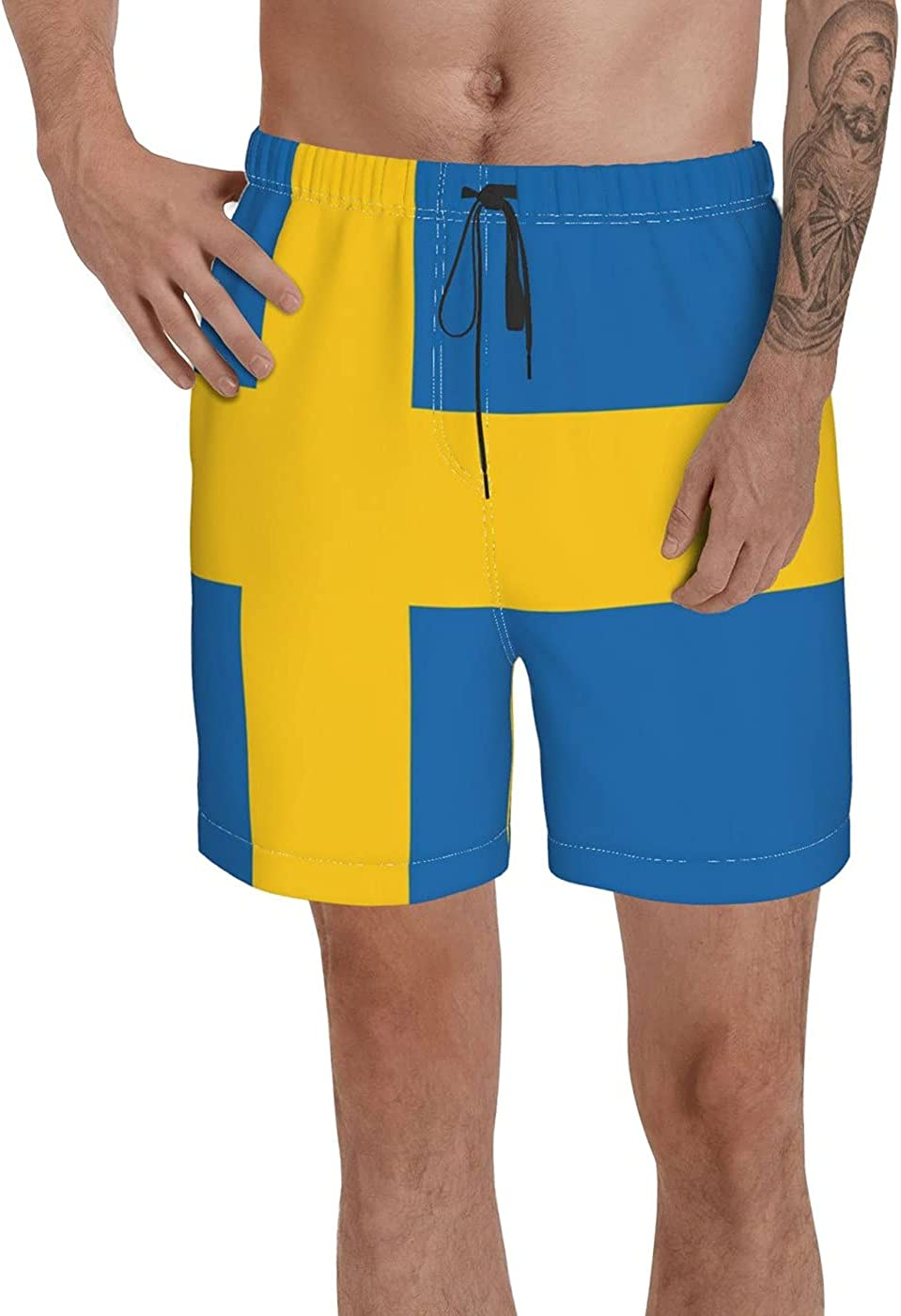 Count Sweden Flag Men's 3D Printed Funny Summer Quick Dry Swim Short Board Shorts with