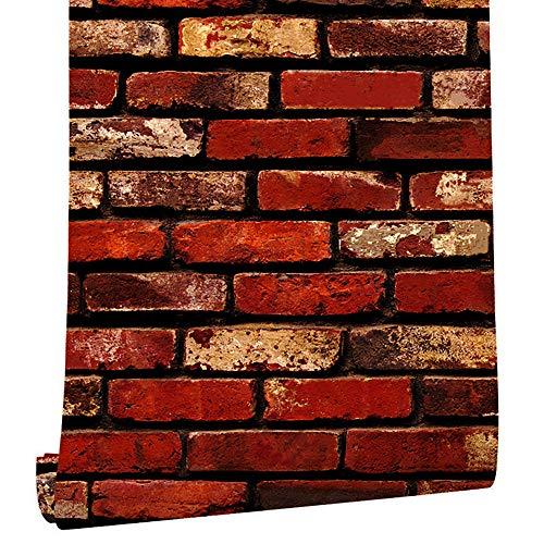 Tapete mit roten Ziegelsteinen, 34-45 cm, selbstklebend, zum Aufkleben und Abziehen, leicht entfernbar, 3D, Ziegeloptik, Rot
